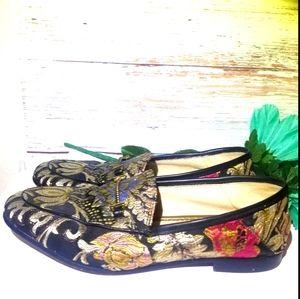 Sam Edelman Shoes Loafers Floral Black Gold 7 M